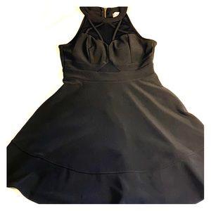 Sexy black dress with mesh panel insert